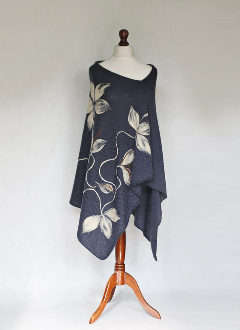 Cashmere Poncho With Floral Digital Print